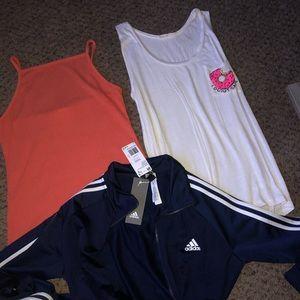 Adidas jacket // Tank tops